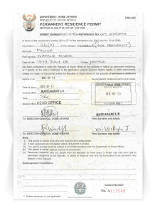 Actual Permanent Residence Permit Document in South Africa from Home Affairs